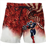 Captain America Dragon Ball Superman Naruto Stylish 3D Print Beach Casual Shorts