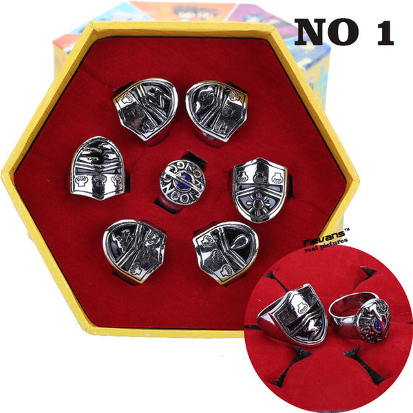 Katekyo Hitman Reborn Sawada Tsunayoshi Cosplay Rings Vongola Metal Rings Set Collections
