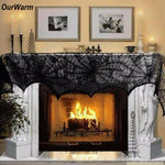 Halloween Fireplace Mantle Scarf Cover 243cm Black Lace Spiderweb Table Cloth for Halloween Party Decoration