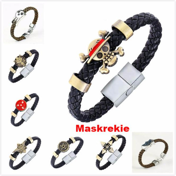 Black Butler Conan Naruto Konoha One Piece Final Fantasy Maganetic Button Wristband Bracelet