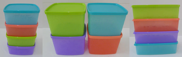 Tupperware Kitchen & Fridge Storage Snowflake Square Round 400ml, 800ml & 1.3L - 4 each