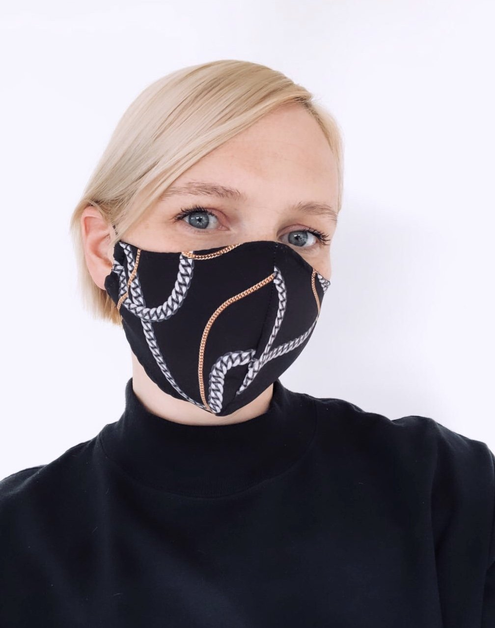 CUSTOM FACE MASK COVERING FOR CHARITY (Non-Profit) - CHAIN PRINT