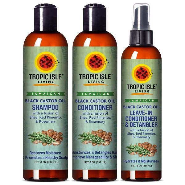Tropic Isle Living Jamaican Black Castor Oil Shampoo + Conditioner + Leave-In Conditioner