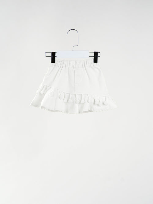 Kayla Tassels White Skirt