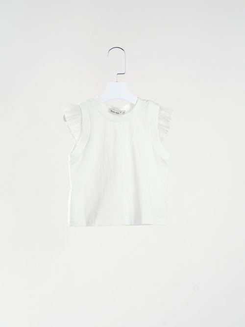 Serena Pleats Sleeve White Top
