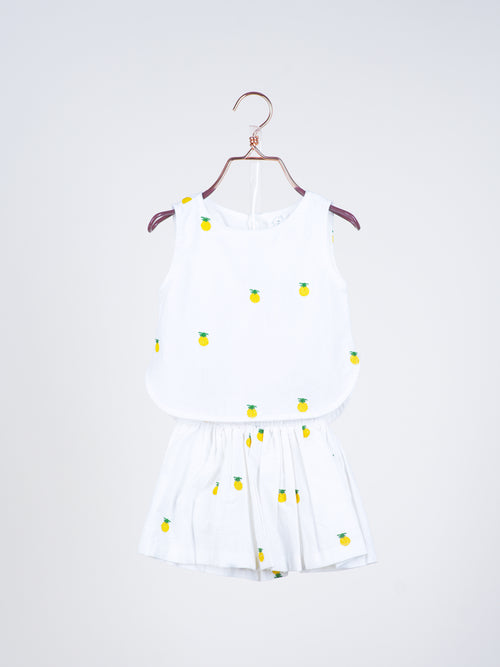 Ashlyn Pineapples Top & Skirt in White