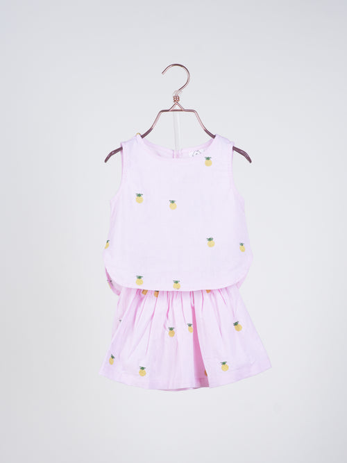 Ashlyn Pineapples Top & Skirt in Pink