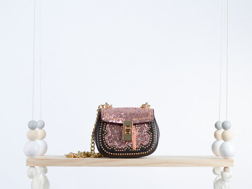Metallic Pink Studded Leather Handbag