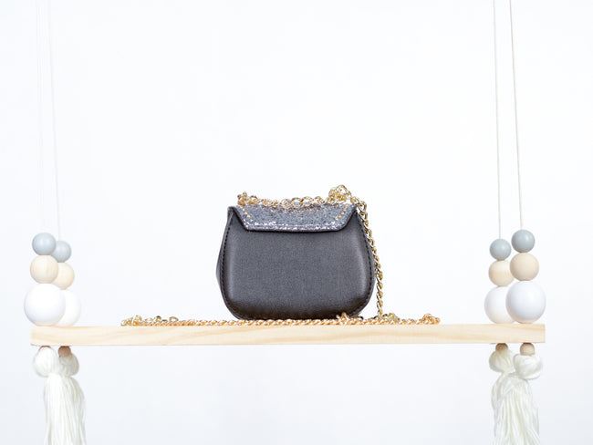 Gunmetal Studded Leather Handbag