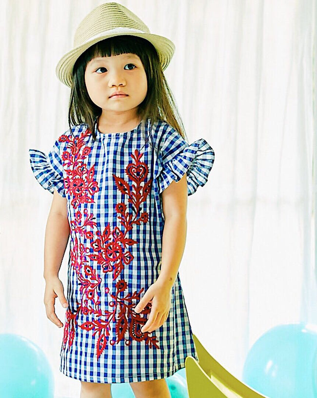 Ava Gingham Embroidery Dress
