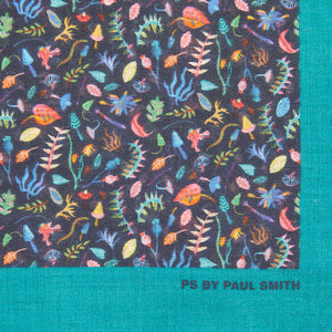 PS by Paul Smith Bright Leaf Cotton Pocket Square, Navy