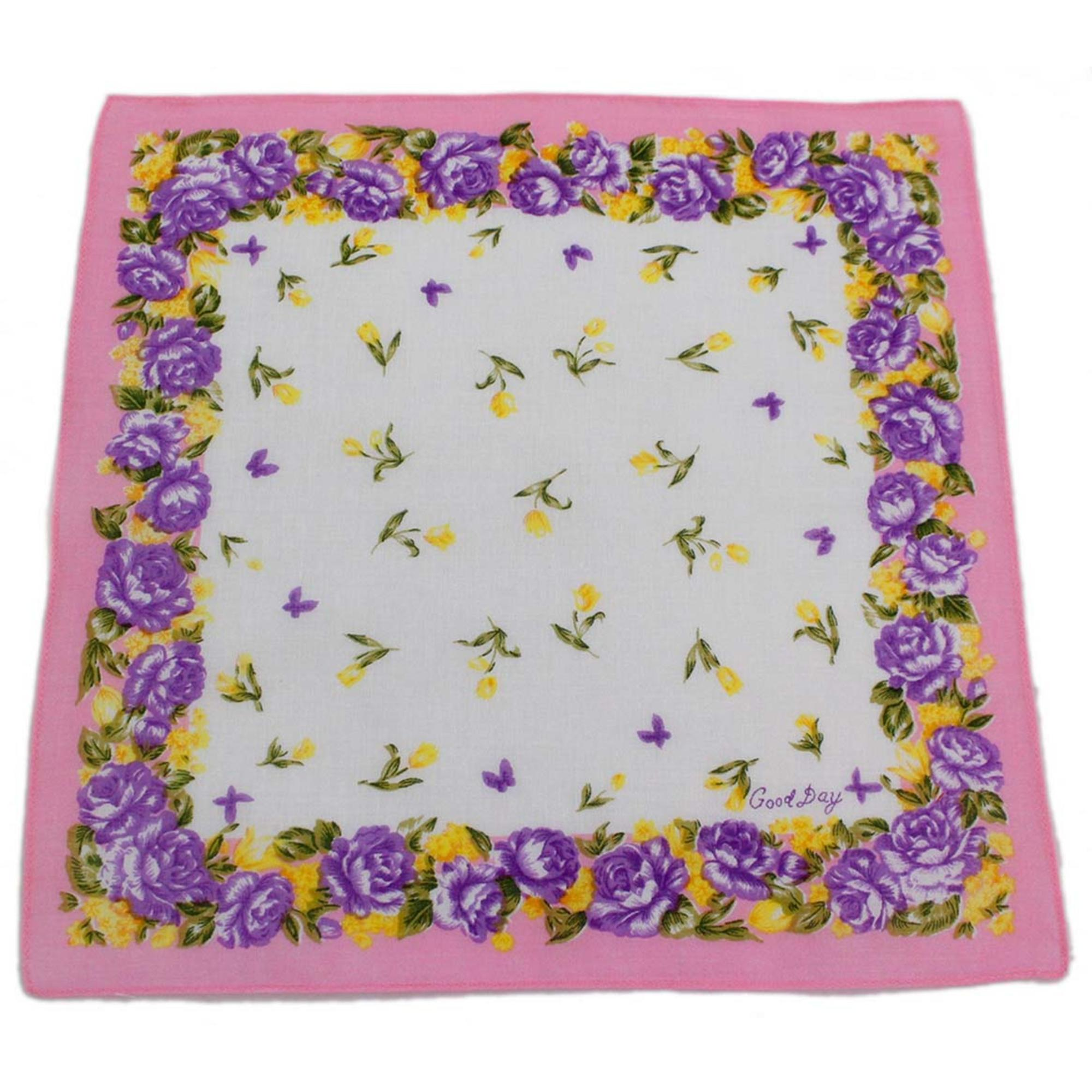 Pink Good Day Colorful Printed Handkerchief with Rose Border