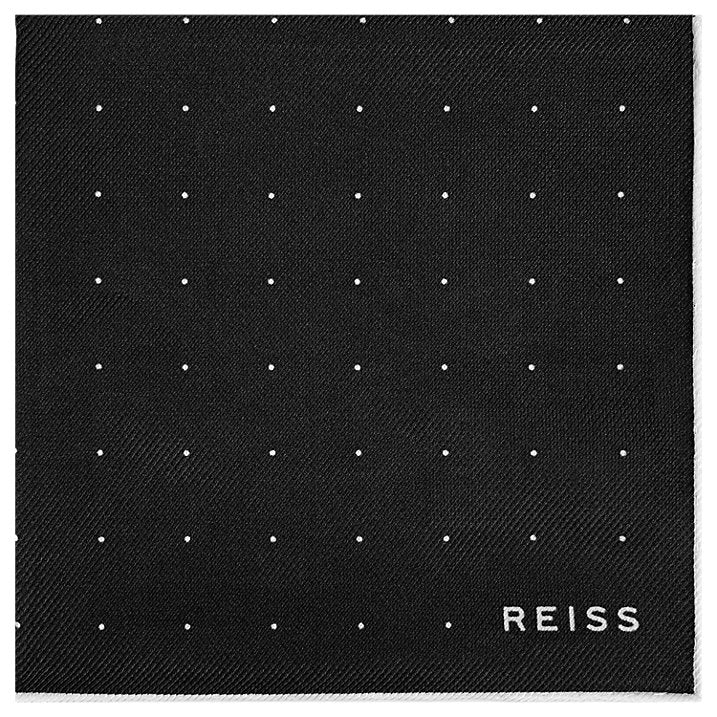 Reiss Planet Micro Dot Silk Pocket Square, Black