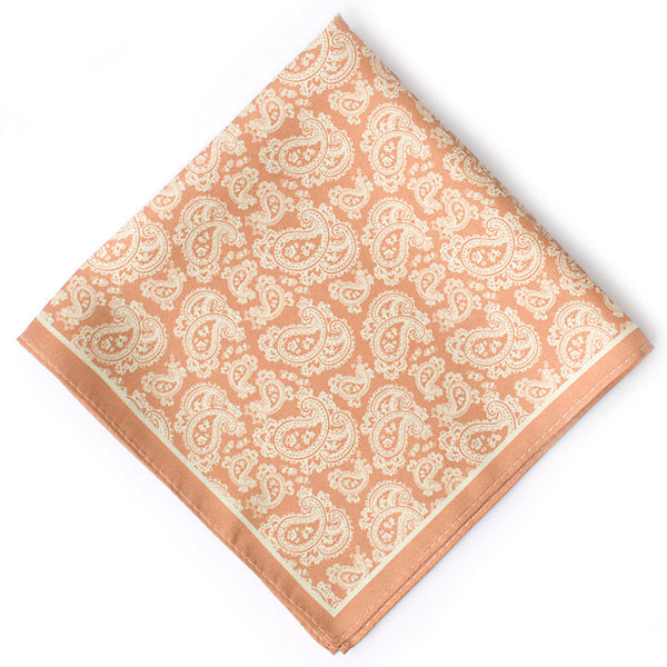 John Lewis Silk Paisley Pocket Square, Coral/Sand