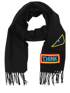 FENDI  WORDS & MONSTER WOOL KNIT SCARF
