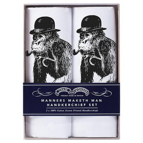 Chase and Wonder Manners Maketh Man Handkerchiefs, Pack of 2, White