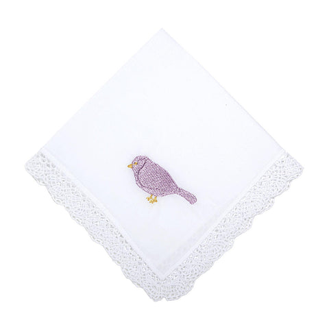 Flying High Embroidered Bird Handkerchief with Crochet Lace