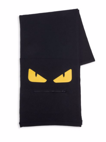 Fendi Monster Zip Mouth Wool Scarf