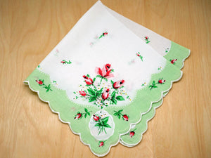 Vintage Inspired Mint Green Rose Print Hankie