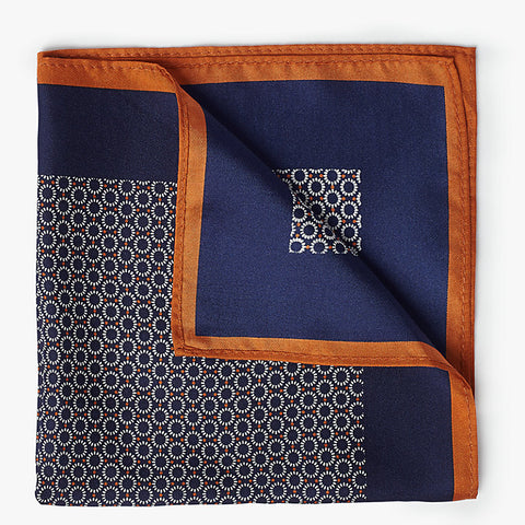 John Lewis Geometric Silk Pocket Square, Blue/Orange