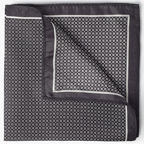 John Lewis Quad Dot Silk Pocket Square, Grey
