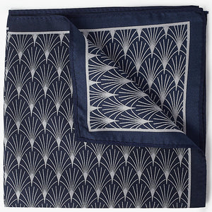 John Lewis Art Deco Silk Pocket Square, Navy/Silver