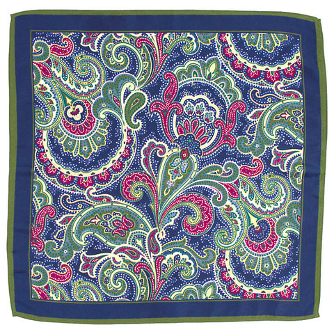 John Lewis Silk Paisley Pocket Square, Green/Pink