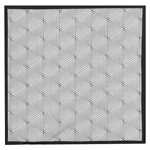 Reiss Bolton Silk Pocket Square, White/Black
