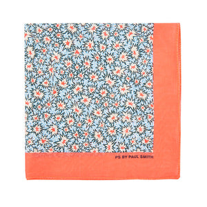 PS by Paul Smith Spark Print Cotton Pocket Square, Coral/Blue