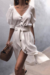 V Neck Belt Puff Sleeve Button Mini Dress