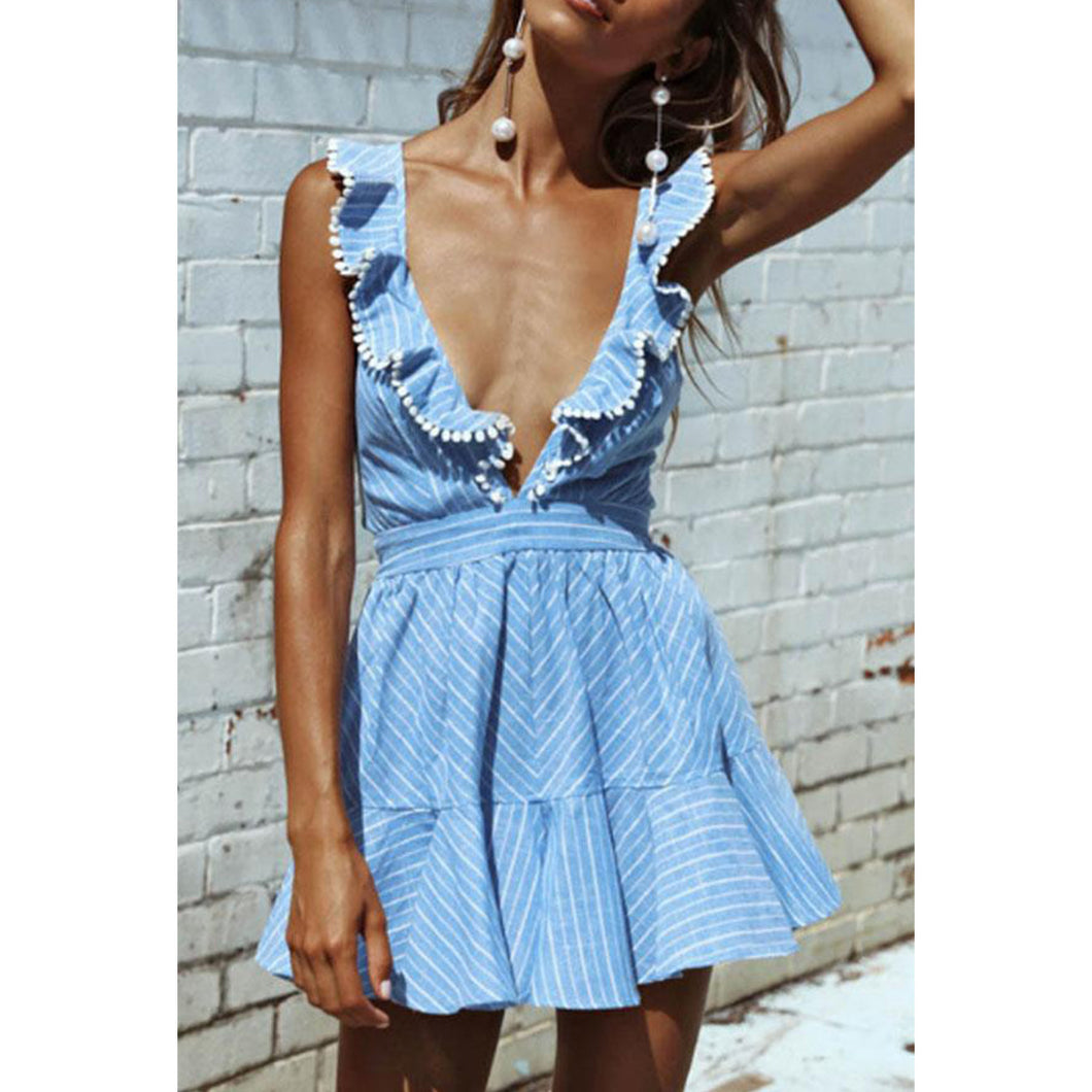 Deep V Neck  Backless Ruffle Trim  Striped  Sleeveless Skater Dresses