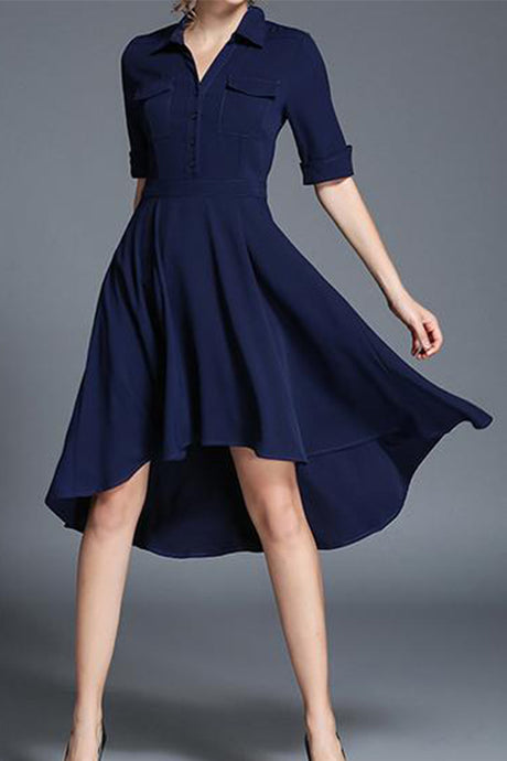 Ladies New Lapel Irregular Skater Dress
