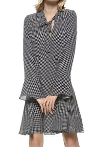 Tie Collar Polka Dot Bell Sleeve Skater Dress