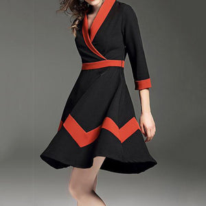 Ladies New Splicing V-Neck Long Skater Dress