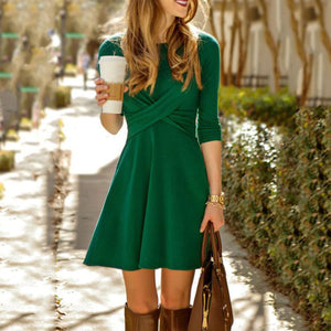 a7dc0074964 Round Neck Patchwork Plain Long Sleeve Skater Dresses – PINKSIA