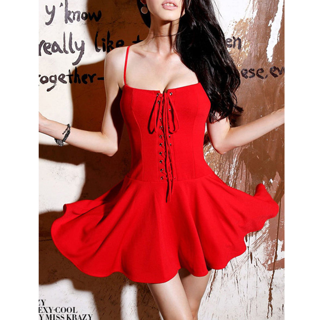 Sexy Spaghetti Strap Lace-Up Plain Mini Skater Dress