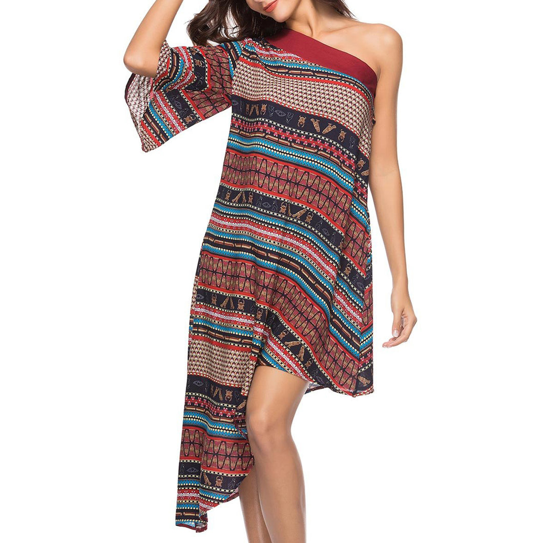 One Shoulder Bohemian Printed Asymmetric Hem Skater Dress