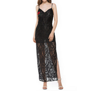 Spaghetti Strap Embroidered Hollow Out Sleeveless Maxi Dresses