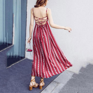 Bohemia Halter Split Backless Maxi Dress