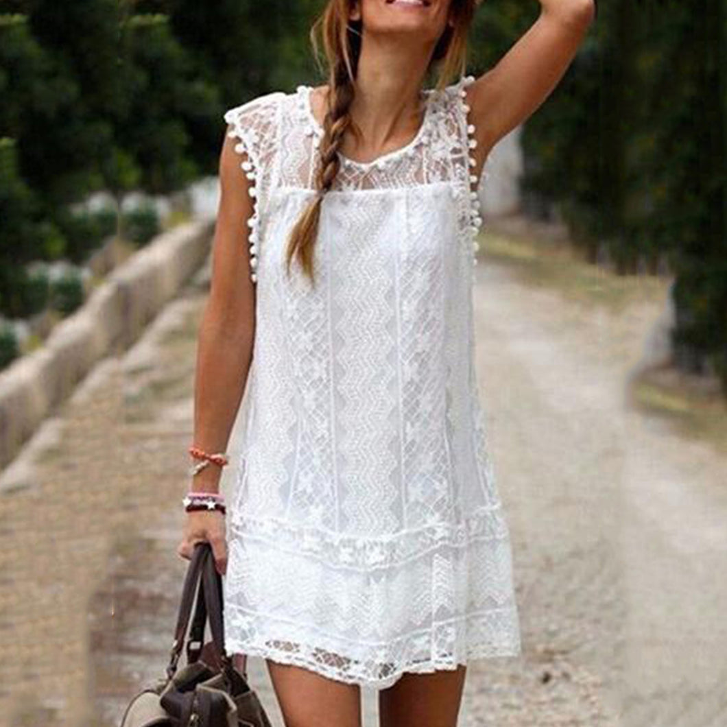 Round Neck  Tassel  Lace Plain Casual Mini Dresses