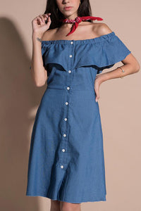 Loose Off Shoulder Flounced Design Cowboy Midi Dress