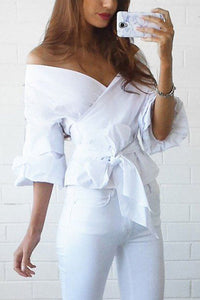 White Off Shoulder V-Neck T-Shirts Blouses