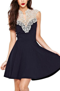 Lace Stitching Sleeveless Skater Dress