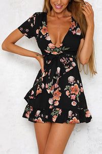Black Casual Short Sleeves Floral Print Mini Dress