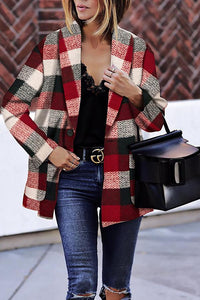 Fashion Grid Long Woolen Coat