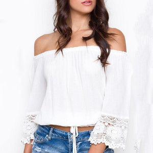 Strapless  Backless Cutout  Belt Loops  Plain  Bell Sleeve T-Shirts