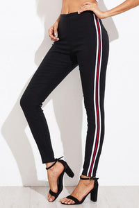 Fashion Red And White Sexy Slim Elastic Pants