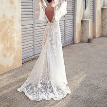 Fashion Lace V-Neck Halter Evening Maxi Dress