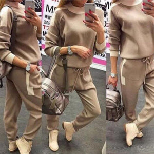 Casual Thick Top Slim Pant Sports Two Piece Set