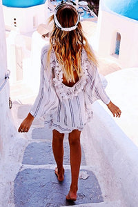 Fashion Stripe Bikini Vacation Dress Cover Ups